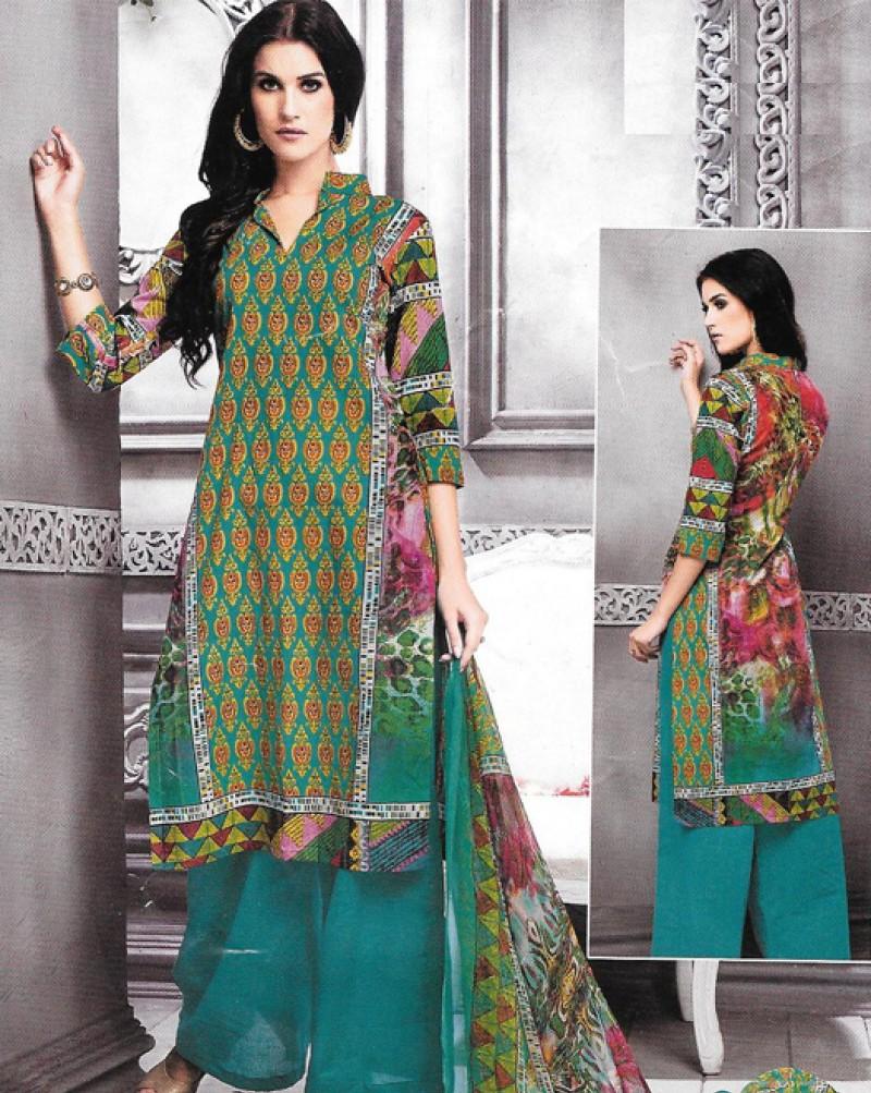 Dark Turquoise Multi Color Cambric Cotton Printed Suit