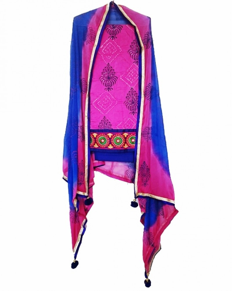 Blue & Pink Punjabi Suit