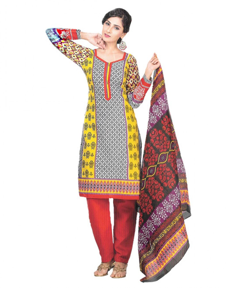 Yellow & Red Printed Cotton Suit