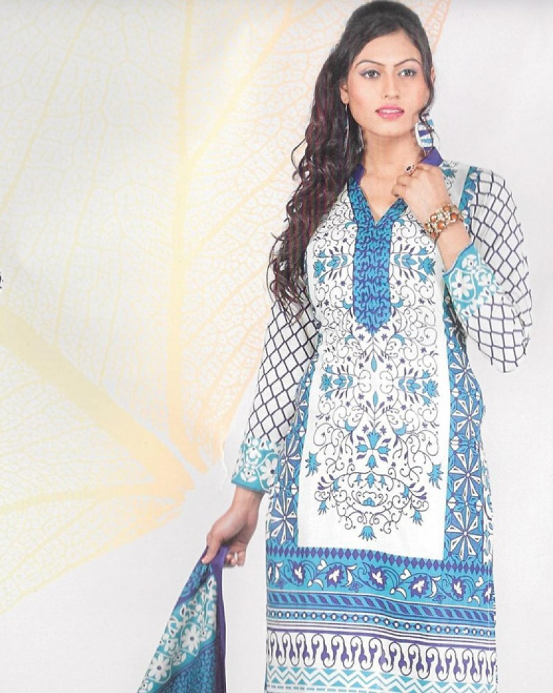 Blue & White Printed Cotton Suit