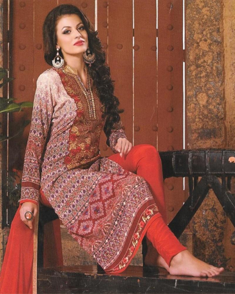 Brown Mix Georgette Designer Suit