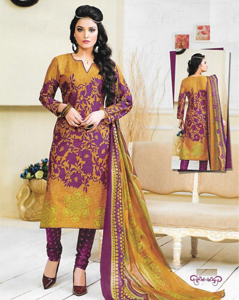 Purple & Yellow Printed Cotton Suit