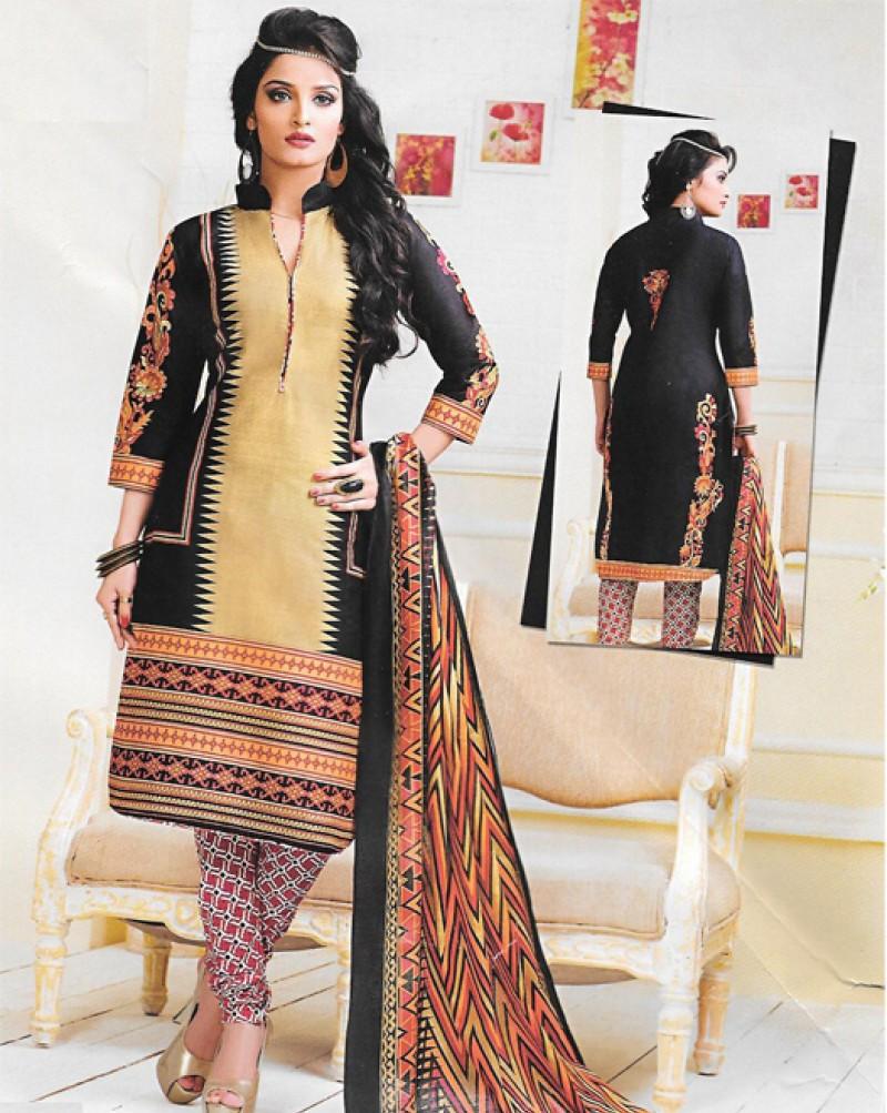 Beige & Black Printed Cotton Suit