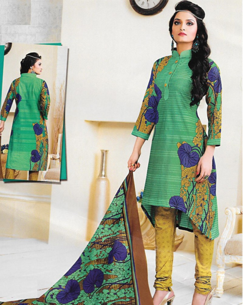 Green & Mustard Printed Cotton Suit