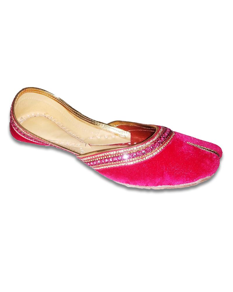 Pink Golden Velvet Casual Punjabi Jutti