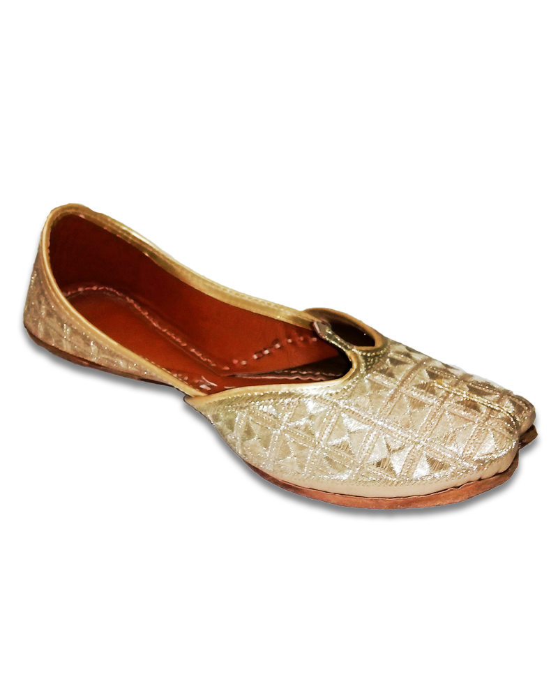 Golden Textured Embroidery Casual Jutti