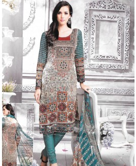 Turquoise Multi Color Printed Cambric Cotton Suit