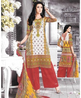 Yellow Printed Multi Color Cambric Cotton Suit