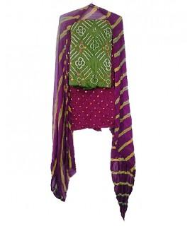 Green & Purple Bhandhej Suit