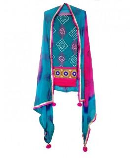 Turquoise Blue  & Pink Punjabi Suit