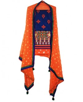Navy Blue & Orange Punjabi Suit