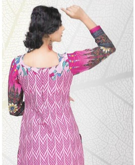 Purple Printed Cotton Suit