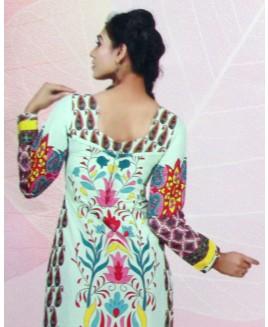 Multicolor Floral Printed Cotton Suit