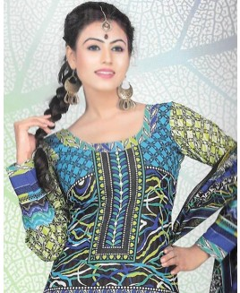 Green And Blue Printed Cotton Suit