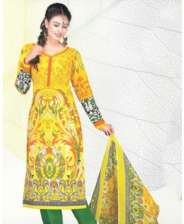 Yellow & Green Printed Cotton Suit