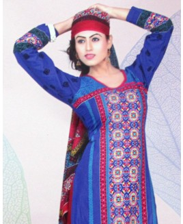 Blue & Maroon Printed Cotton Suit