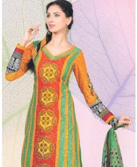 Orange & Green Printed Cotton Suit