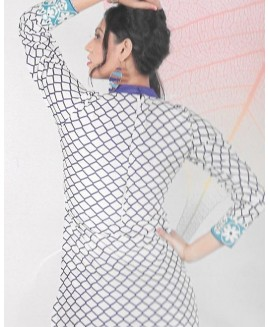 Blue & White Printed Cotton Suit