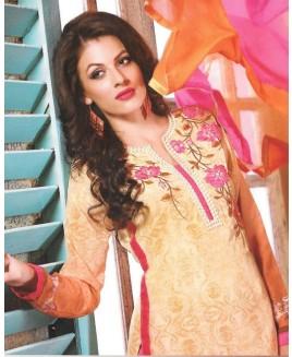 Yellow & Pink Mix Georgette Designer Suit
