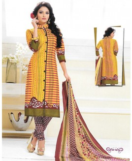 Yellow & Maroon Printed Suit