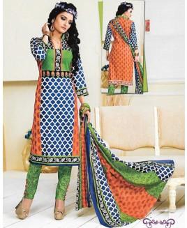 Orange & Blue Printed Cotton Suit