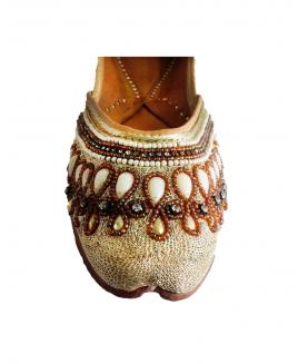 Golden Casual Punjabi Jutti with Heavy Beads & Pearls Handwork
