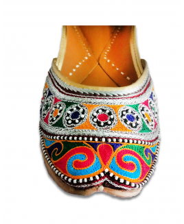 Multicolor Casual Punjabi Jutti with Silk Thread Handwork