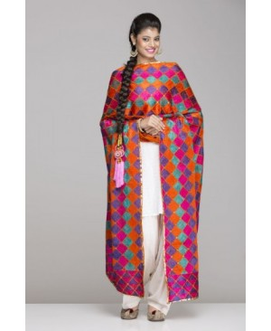 White salwar suit with orange & dark pink phulkari
