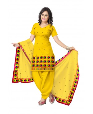 Yellow & blue phulkari salwar suits