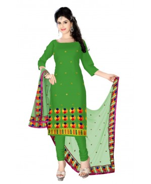 Green & red phulkari design suit
