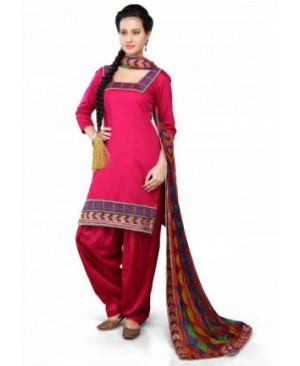 Dark pink punjabi phulkari suit
