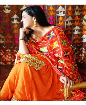 Orange salwar suit with phulkari red dupatta
