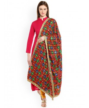 Red Suit with multi color phulkari dupatta