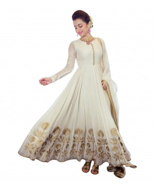 Off White with golden work anarkali suit