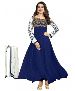 Off White & Blue Anarkali Suit