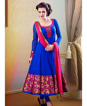 Dark Blue Magenta Anarkali suit