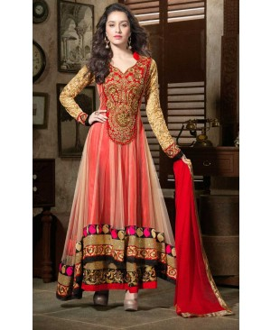 Red & golden designer Anarkali suit