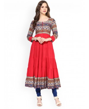 Printed cotton Anarkali Suit