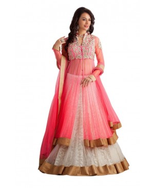 Pink & White net Anarkali suit