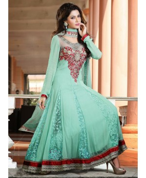 Maroon & Sea green Anarkali suit