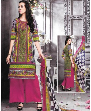 Pink Printed Multi Color Cambric Cotton Suit