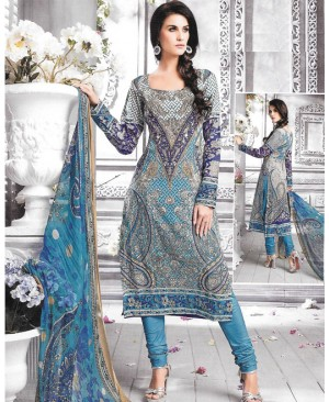 Blue Printed Multi Color Cambric Cotton Suit