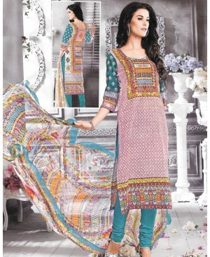 Dark Turquoise Multi Color Cambric Cotton Suit