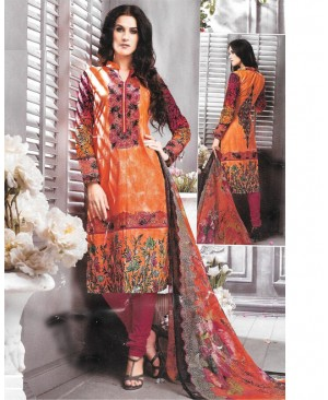 Orange & Magenta Printed Cambric Cotton Suit