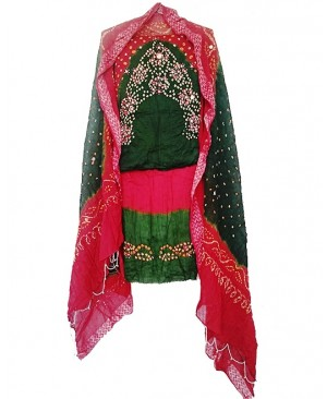 Red & Green Bhandhej Suit