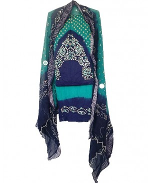 Blue & Peacock Bhandhej Suit