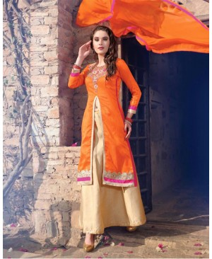 Orange & Off White Lehenga Party Wear Suit