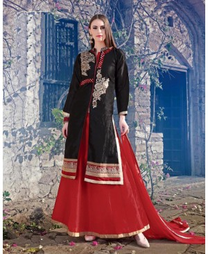Black & Red Off White Lehenga Party Wear Suit