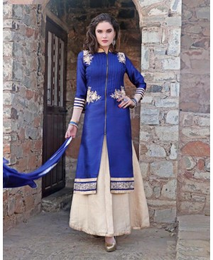 Fabulous Blue & Off White Lehenga Party Wear Suit