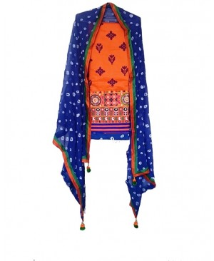 Orange & Blue Punjabi Suit